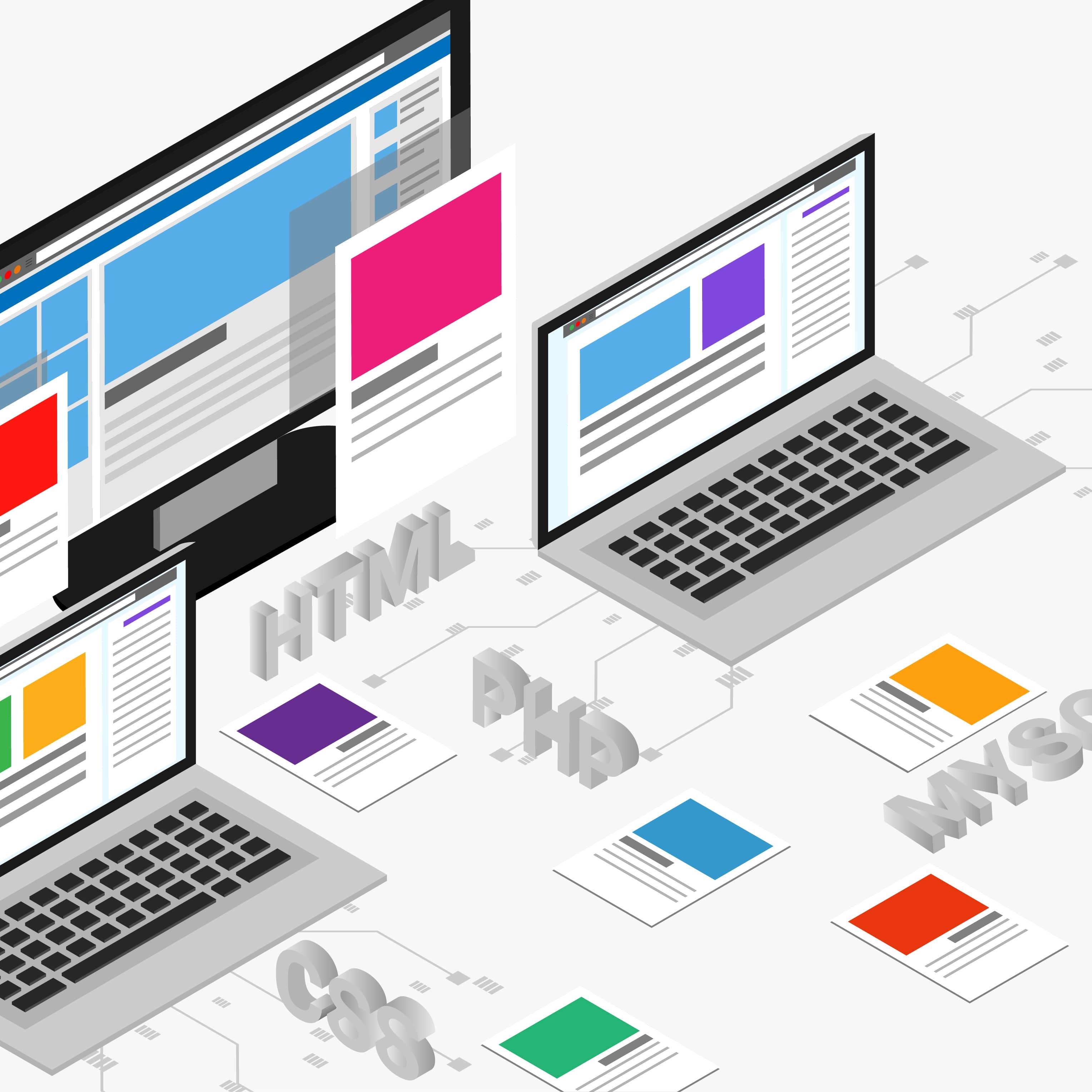 Web development isometric banner